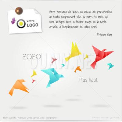 ECVN62 - Ecard de voeux Origami Voler plus haut