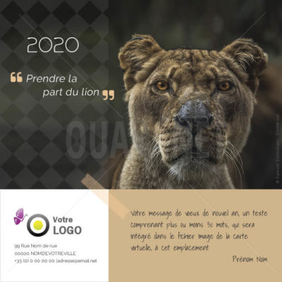 ECVN 86 - Ecard de voeux animal lion